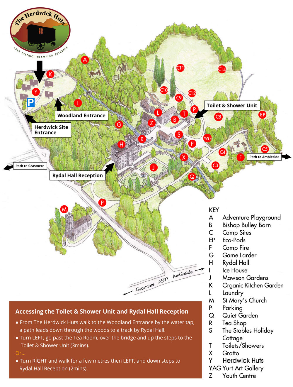 Rydal Hall Site Map